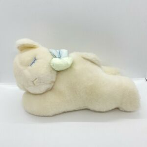 Eden Plush Stuffed Wind Up Musical Sleeping Bear White W/satin Bow Vintage