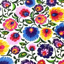 Folk Flowers on white 100% Cotton Fabric. Price per 1/2 meter
