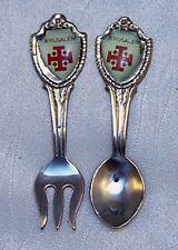 "Jerusalem Vintage Collector Spoon and Fork 2 1/2"" Silvertone"