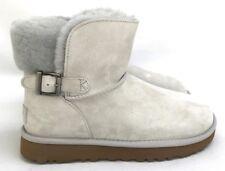 Ugg Karel Sheepskin Suede Side Buckle Gray Women's Boots Size 7