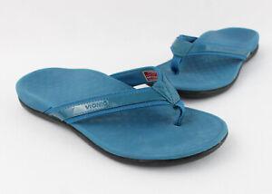 Vionic Women's Teal Patent Leather Thong Sandal Shoe Size 8
