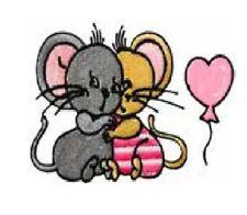 1Aufbügelmotiv ♥ Patch♥ Mäuse mit Ballon ♥ Aufbügler ♥ Applikation NEU