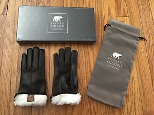 New Sealed Womens Sz 7.5 Fratelli Orsini Black Leather Gloves Black, Fur Lined