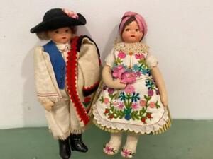 "Hungary Hungarian Vtg 2 Doll Lot 7"" Boy Girl Signed Wool International Costume"