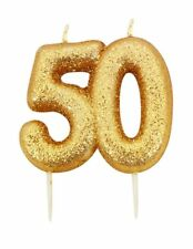 ** 9CM GOLD GLITTER NUMBER 50 CANDLE 50th BIRTHDAY PARTY CAKE DECORATION NEW **