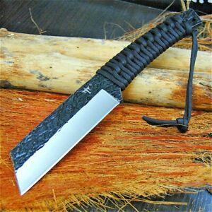 Jungle Survival Hunting Knife Forged Steel Fixed Blade Rope Handle Mini Machete