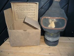 WW2 Civilian Gas Mask in original box with string shoulder strap - Size Large .
