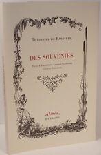 THEODORE de BANVILLE DES SOUVENIRS BAUDELAIRE CHARLES ASSELINEAU d'ANGLEMONT