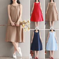 M~3XL Dress Sleeveless Vacation Cotton Linen Mid Sundress Shift Holiday A-line