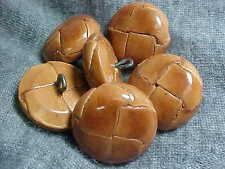 VTG 6 ANTIQUE BROWN DOME WOVEN LEATHER MOLDED BUTTONS 45 line 30mm back