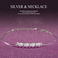 HOT Women 925 Sterling Crystal Chain Bangle Cuff Charm Bracelet Jewelry