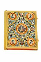 Orthodox Enamel Gospel with Icons Gold Plated with Text Book