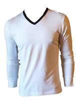 Maglia Maglietta T-shirt Manica Lunga Bianca Collo V Uomo FRANKIE MORELLO Tag  M