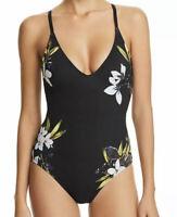 NWT La Blanca Women's Black Floral V-Neck Crisscross One-Piece Swimsuit Size 6