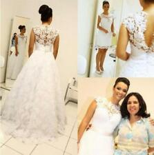 Lace 2 in 1 Hi-Lo Lace A-line Wedding Dresses Sleeveless Bridal Gowns Custom