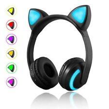 Wireless Bluetooth Stereo Gaming Headset Cat Ear LED Headphones W/Mic Earphones