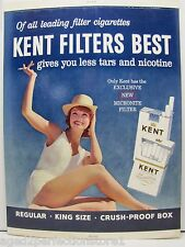 Old KENT Cigarettes Adv Store Display Sign beautiful woman smoking in bikini