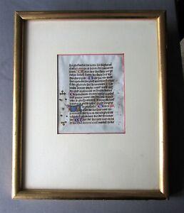 Antique MEDIEVAL 15th Century BOOK Of HOURS Illuminated VELLUM LEAF circa 1450