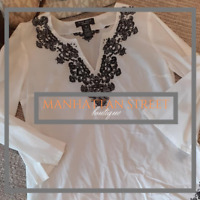 Nine West Womens Sz M White Black Tunic 3/4 Sleeve Cotton Top Blouse Shirt 2009