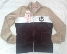 NWT Juicy Couture New Ladies Small Beige Brown Toweling Tennis Sweat Jacket
