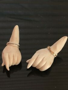 """Vintage Pair Of Porcelain Doll Hands Gold Trim Wristlets 2"""" Long Finger To End"""