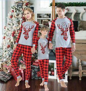 Xmas Pjs Family Matching Adult Kids Christmas Nightwear Elk Pyjamas Pajamas Set