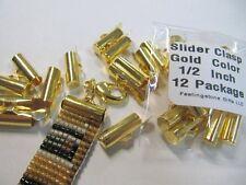 End Caps Slider Clasps, 1/2 Inch, Gold Color, 12 Piece/6 Sets