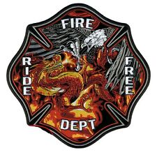 "Motorcycle Biker Uniform Back Patch 10"" Ride Free Fire Department Dept #Xl"