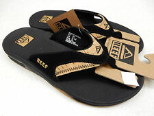 REEF MENS SANDALS LEATHER FANNING BLACK CORK SIZE 8