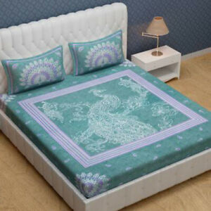 Jaipuri Prints Cotton Double Bedsheet With 2 Pillow Covers Cases Handmade