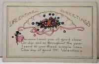 Valentine Greeting Pink Heart Ribbon Flowers 1922 Garfield Utah Postcard F1