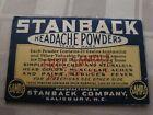 Antique Stanback Headache Powders Package Advertising Medicine RARE Free Sample