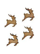 16x Christmas Leaping Reindeer 3cm Wood Craft Embelishments Laser Cut Shape MDF