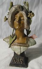 antique art noveau bust of lady, marked LYS beautiful, bronze?
