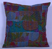 """16"""" INDIAN PATCHWORK CUSHION PILLOW COVER COTTON KANTHA WORK BED SOFA THROW BOHO"""