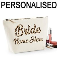 Bride Personalised Name Women's Make Up Bag Wedding Hen Gift Leopard Print