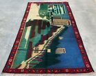 Authentic Hand Knotted Afghan Balouch Pictorial Wool Area Rug 4.5 x 2.7 Ft