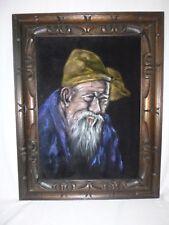 Vtg Mid Century Black Velvet Painting Portrait of an Elderly Man 18 x 23 Framed