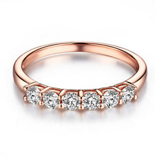 Flawless Fashion Bands Ring 0.43ct Moissanite Fine Jewelry Solid 14K Rose Gold