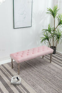 Pink velvet 130cm dining table bench with button detail and metal legs
