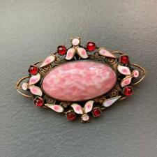 Vintage Art Deco Czech Glass Enamel Pin Brooch   brooches Broach