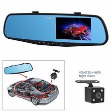 4.3'' HD 1080P Dual Lens Video Grabadora Coche Cámara DVR+Retrovisor Espejo Dvr