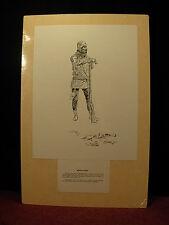 "Vint. Charles Russell Black & White Sketch Print ""Buffalo Man"" Western Art .RARE"