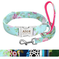 Personalized Tribal Floral ID Dog Collars &Leash Laser Engraved Metal Buckle S-L