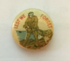 Lest We Forget Pin - Wwi Era Pinback - Rare!