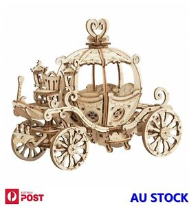 Pumpkin Carriage Cart DIY Wood Art Craft Kits 3D Laser Cutting Wooden Puzzle Toy