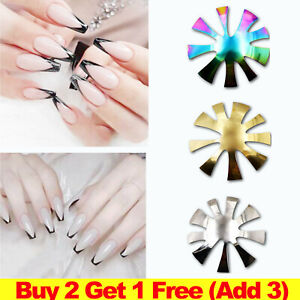 NEW V-Shaped Triangle Nail Cutter French Manicure Nail Deep Steel Plate Tool UK