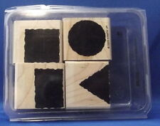 LITTLE SHAPES 4pc Set - Stampin' Up Wood Rubber Stamp in Case