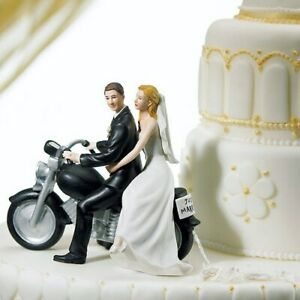 Motorcycle Couple Fun Wedding Cake Topper WITH Custom Hair Colors