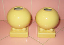 1986 New Fiesta Ware Pair Yellow Ball Candle Holders Fiestaware Laughlin